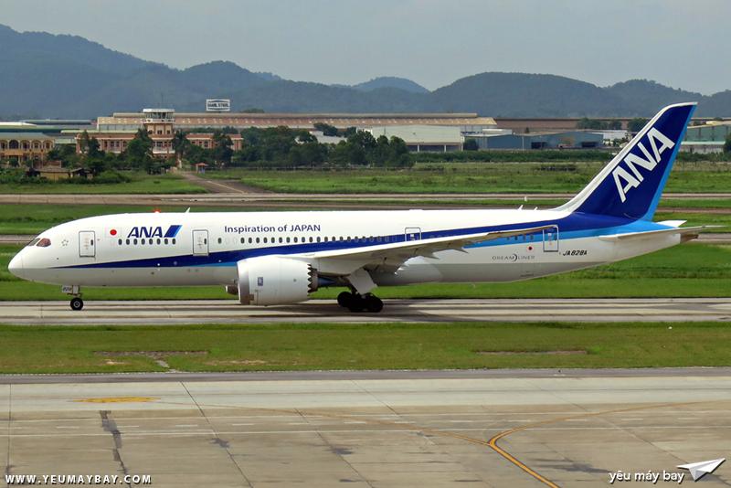 Chiếc B787-8 Dreamliner đầu tiên của ANA đến Nội Bài (số đăng kí JA828A). Ảnh: Dũng Nguyễn