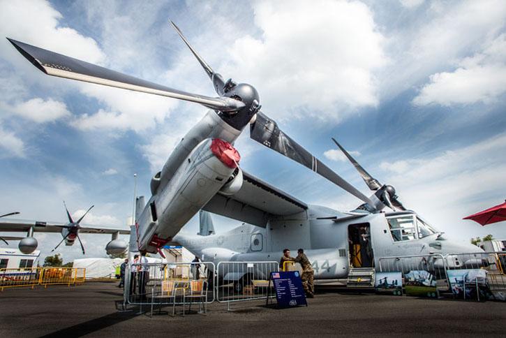 Bell Boeing MV-22B 'Osprey', trực thăng 'Chim ưng biển' thuộc biên chế của Lính thủy đánh bộ Mỹ (US Marines) - Ảnh: www.singaporeairshow.com