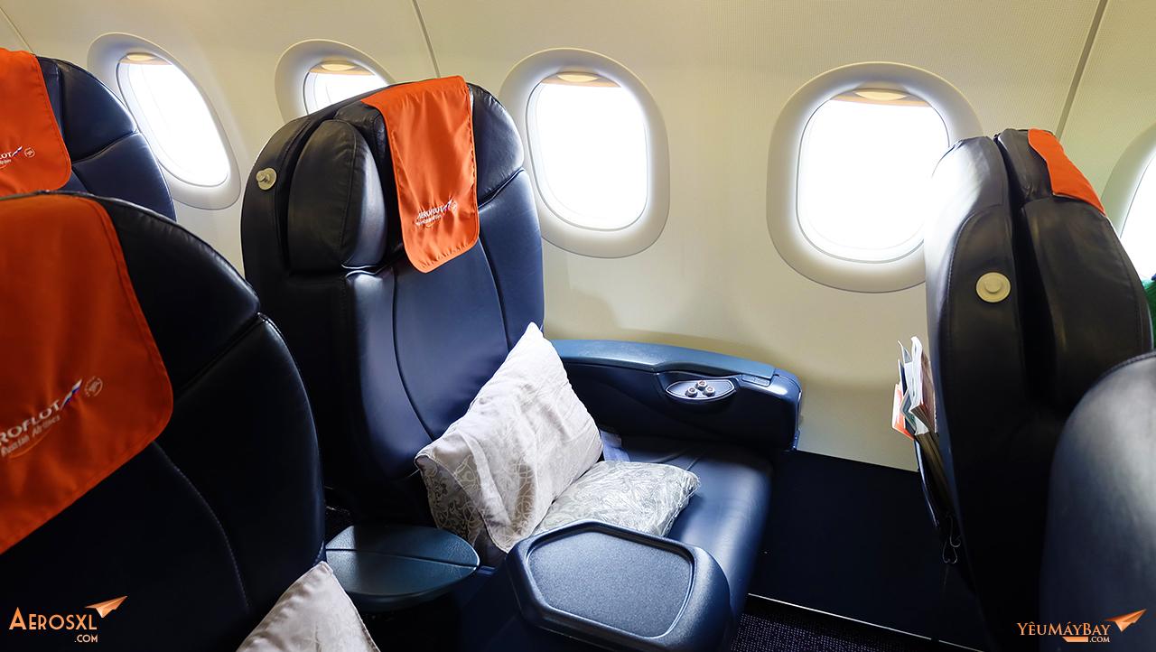 Ghế hạng thương gia trên máy bay Airbus A321 của Aeroflot. Ảnh: Travip