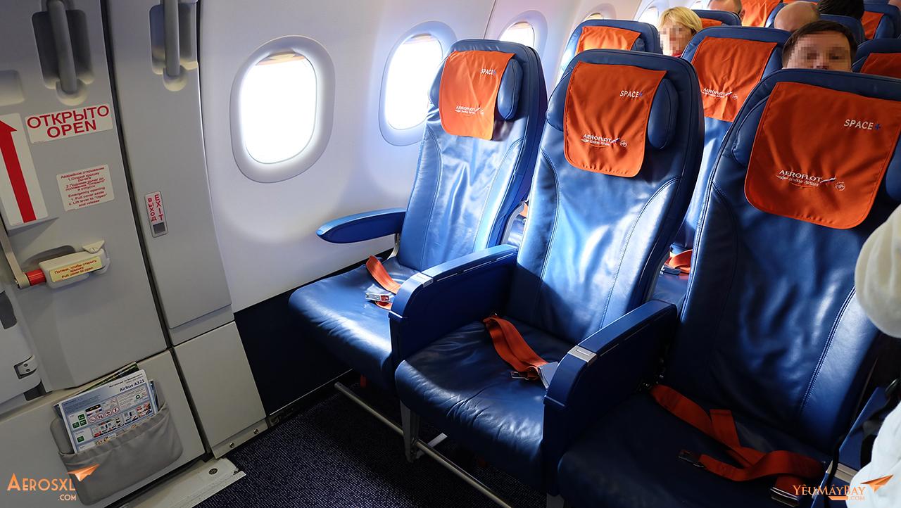 Ghế hạng phổ thông trên máy bay Airbus A321 của Aeroflot. Ảnh: Travip