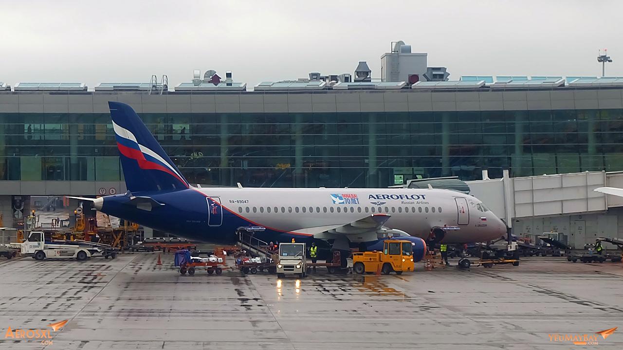 Một chiếc Sukhoi Super Jet 100 của Aeroflot tại SVO. Ảnh: Travip