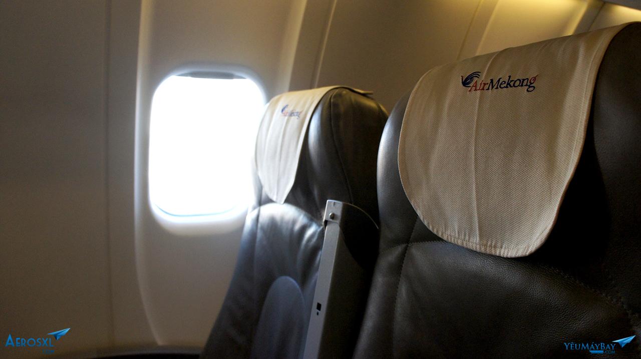 Bên trong khoang máy bay Air Mekong. Ảnh: Travip